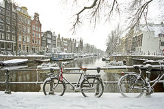 Amsterdam in winter in the Netherlands Royalty Free Stock Photography