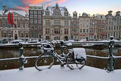 Amsterdam in winter in Netherlands at sunset. Amsterdam in winter in the Netherlands at sunset Stock Photo