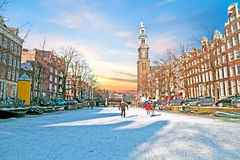 Amsterdam in winter in the Netherlands. Amsterdam in winter with the Westerkerk in the Netherlands Stock Photos