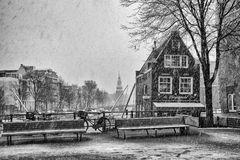 Amsterdam in Wintertime. Amsterdam is like a fairytale in wintertime.  Specially with all the bicycles everywhere Stock Photography