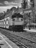 AMT pociągi przyjeżdża w Montreal zdjęcia stock