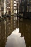 amterdam运河反映 免版税库存照片
