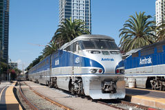 An Amtrak California passenger train. Leaves the Santa Fe Depot station royalty free stock image