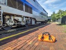 Amtrak drev, flodlöpare, på Kirkwood, MO Arkivfoto
