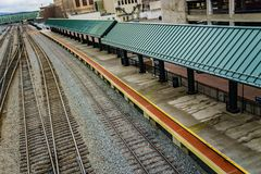 Amtrak Loading Platform. Roanoke, VA – December 23rd: Amtrak loading platform located in downtown Roanoke, Virginia, USA on December 23rd, 2017, Roanoke royalty free stock images
