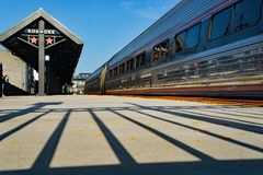 Amtrak Loading Platform - Roanoke, Virginia, USA. Roanoke, VA – August 25th; New Amtrak loading platform located in downtown Roanoke, Virginia, USA on stock images