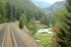 Amtrak through Montana. Amtrak ride through the Northwest states and fog stock photo