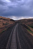 Amtrak through Montana. Amtrak ride through the Northwest states and storm rolling in stock images
