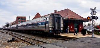 Amtrak pociąg przy Manassas dworcem zdjęcie stock
