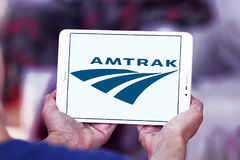 Amtrak postal shipping logo. Logo of postal shipping company amtrak on samsung tablet stock images