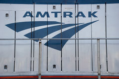 Amtrak Train. Logo on the Coast Starlight express stock images