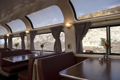 Amtrak Train. Dining car with observation windows on the Coast Starlight Amtrak train stock photo
