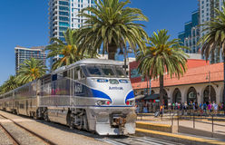 Amtrak Train Arrival at Santa Fe Depot. SAN DIEGO, CA/USA - SEPTEMBER 9, 2016: Amtrak train arriving at Santa Fe Depot in downtown San Diego royalty free stock image