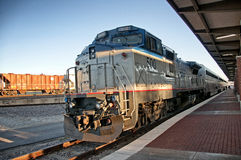 Amtrak train. This is an amtrak train called the heartland flyer in the ft worth train station in ft worth texas Royalty Free Stock Photos