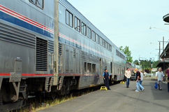 Amtrak Train cars Stock Photo