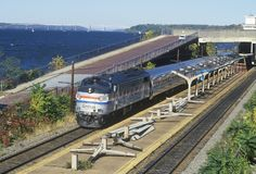 An Amtrak train station along the Hudson River, scenic Route 9G, New York Stock Images