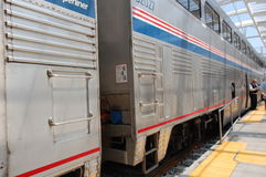 Amtrak train at station2. Amtrak train at Denver Colorado stock photo