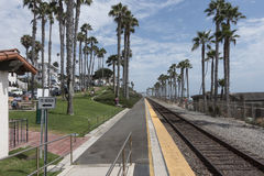 Amtrak train tracks. And station, San Clemente California stock image