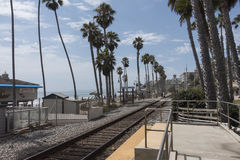 Amtrak train tracks. And station, San Clemente California stock photos