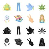 Amulet, hippie girl, freedom sign, old cassette.Hippy set collection icons in black,cartoon style vector symbol stock. Illustration Royalty Free Stock Image