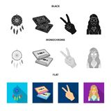 Amulet, hippie girl, freedom sign, old cassette.Hippy set collection icons in black, flat, monochrome style vector. Symbol stock illustration Stock Image