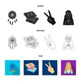 Amulet, hippie girl, freedom sign, old cassette.Hippy set collection icons in black,flat,outline style vector symbol. Stock illustration Stock Photos