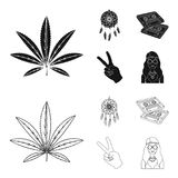 Amulet, hippie girl, freedom sign, old cassette.Hippy set collection icons in black,outline style vector symbol stock. Illustration Stock Photos