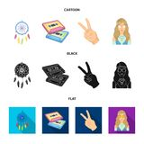 Amulet, hippie girl, freedom sign, old cassette.Hippy set collection icons in cartoon,black,flat style vector symbol. Stock illustration Stock Image