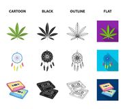 Amulet, hippie girl, freedom sign, old cassette.Hippy set collection icons in cartoon,black,outline,flat style vector. Symbol stock illustration Stock Photography
