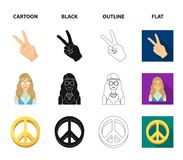Amulet, hippie girl, freedom sign, old cassette.Hippy set collection icons in cartoon,black,outline,flat style vector. Symbol stock illustration Royalty Free Stock Photography