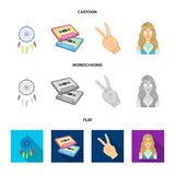 Amulet, hippie girl, freedom sign, old cassette.Hippy set collection icons in cartoon,flat,monochrome style vector. Symbol stock illustration Stock Photo