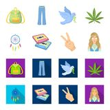 Amulet, hippie girl, freedom sign, old cassette.Hippy set collection icons in cartoon,flat style vector symbol stock. Illustration Stock Photography