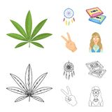 Amulet, hippie girl, freedom sign, old cassette.Hippy set collection icons in cartoon,outline style vector symbol stock. Illustration Stock Images