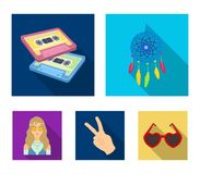 Amulet, hippie girl, freedom sign, old cassette.Hippy set collection icons in flat style vector symbol stock. Illustration Royalty Free Stock Image