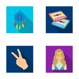 Amulet, hippie girl, freedom sign, old cassette.Hippy set collection icons in flat style vector symbol stock Royalty Free Stock Image
