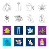 Amulet, hippie girl, freedom sign, old cassette.Hippy set collection icons in outline,flat style vector symbol stock. Illustration Royalty Free Stock Images