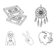 Amulet, hippie girl, freedom sign, old cassette.Hippy set collection icons in outline style vector symbol stock. Illustration Royalty Free Stock Photos