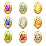 Amuleti dorati variopinti di vettore con i diamanti Immagine Stock