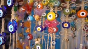Amuleto colorido de la gota del mal de ojo almacen de video