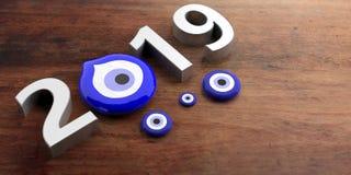 Amuleto del mal de ojo, protección, Año Nuevo afortunado, 2019, bandera, tamaños diversos en fondo de madera ilustración 3D stock de ilustración