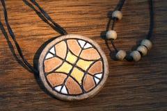 Amuleto hecho a mano étnico de la arcilla Imágenes de archivo libres de regalías