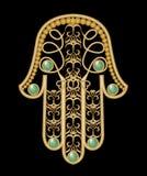 Amuleto a mano di Miriam di protezione nella progettazione a filigrana dell'oro Fotografie Stock Libere da Diritti