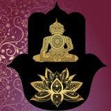 Amuleto protettivo - Hamsa buddhism buddha Bella priorità bassa del reticolo illustrazione vettoriale