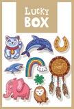 Amuletos afortunados y colección feliz de los símbolos Imagen de archivo libre de regalías