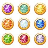 Amuletos de oro coloridos del vector con los diamantes Imagen de archivo libre de regalías