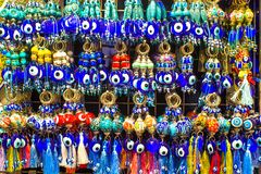 Amulets from evil eye on the market in Istanbul Stock Images
