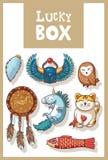 Amulettes chanceuses et collection heureuse de symboles Photo stock