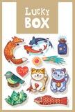 Amulettes chanceuses et collection heureuse de symboles Photos libres de droits
