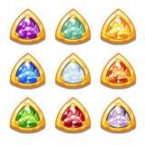 Amulettes d'or colorées de vecteur avec des diamants Photos stock
