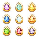 Amulettes d'or colorées de vecteur avec des diamants Image libre de droits